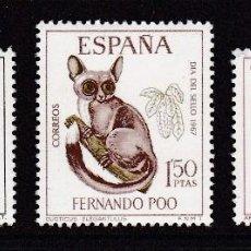 Sellos: FERNANDO POO 1967 - DÍA DEL SELLO SERIE COMPLETA NUEVA SIN FIJASELLOS EDIFIL Nº 259/261. Lote 235274465