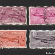 """Sellos: MARRUECOS INDEPENDIENTE. Nº 9/12. AÑO 1956. CUATRIMOTOR ·CONSTELATION"""". USADO. Lote 235828695"""