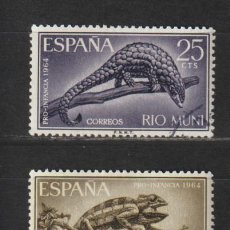 Sellos: RIO MUNI. Nº 45/47. AÑO 1964. PRO INFANCIA. USADO.. Lote 235960485