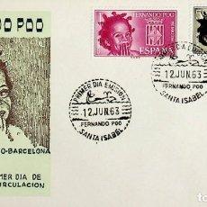 Sellos: 1963 FERNANDO POO FDC PRO BARCELONA. Lote 236777650