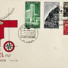 Sellos: 1961 SAHARA ESPAÑOL FDC XXV ANIVERSÁRIO DE LA EXALTACIÓN DEL GENERAL FRANCO A LA JEFATURA DEL ESTADO. Lote 236799960