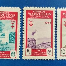 Sellos: NUEVO **. MARRUECOS ESPAÑOL. AÑO 1954. EDIFIL 394, 395, 396. PRO TUBERCULOSOS.. Lote 236849600