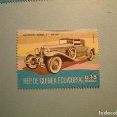 Sellos: GUINEA ECUATORIAL - COCHES DE ÉPOCA - DUESENBERG MODELO J (1929-1930).. Lote 236875940