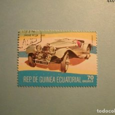 Sellos: GUINEA ECUATORIAL - COCHES DE ÉPOCA - JAGUAR SS 100 (1937).. Lote 236876130