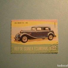 Sellos: GUINEA ECUATORIAL - COCHES DE ÉPOCA - M.G. MIDGET PA 1934. Lote 236876700