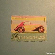 Sellos: GUINEA ECUATORIAL - COCHES DE ÉPOCA - PANHARD & LEVASSOR, 1934.. Lote 236878450