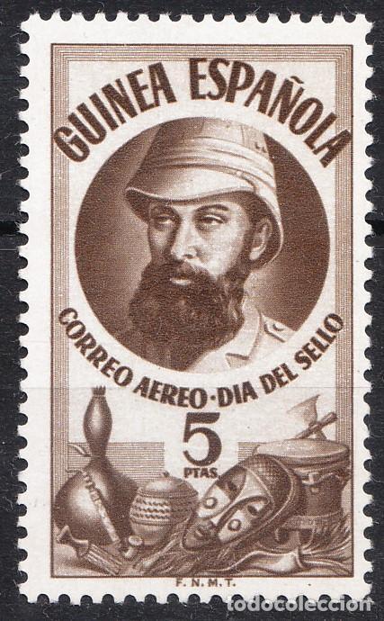 1950 DÍA DEL SELLO COLONIAL 5 PESETAS GUINEA EDIFIL 294 SEPIA NUEVO CON RESTOS DE FIJASELLOS (Sellos - España - Colonias Españolas y Dependencias - África - Guinea)