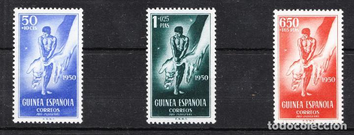 1950 PRO-INDÍGENAS GUINEA EDIFIL 295/7 SERIE NUEVOS SIN FIJASELLOS (Sellos - España - Colonias Españolas y Dependencias - África - Guinea)