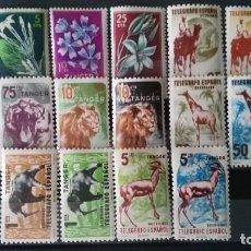 Sellos: 16 SELLOS NUEVOS DE ANIMALES Y FLORES DE TANGER. Lote 227842220