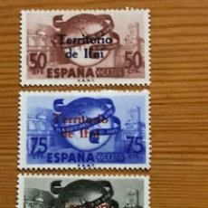 Sellos: IFNI, DIA DEL SELLO, ANIVERSARIO DE LA U.P.U, 1949, EDIFIL 65 AL 67, NUEVOS CON FIJASELLOS. Lote 243525340
