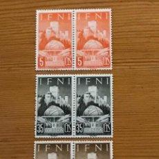 Sellos: IFNI, GEOGRAFICO HISPANO ARABE, 1952, EN PAREJA, EDIFIL 86 AL 88, NUEVOS CON FIJASELLOS. Lote 243530985