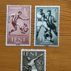Sellos: IFNI, DIA DEL SELLO, 1959, EDIFIL 156 AL 158, NUEVOS CON FIJASELLOS. Lote 262840755