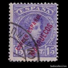 Sellos: MARRUECOS 1903-09.HABILITADO.15C.VIOLETA USADO.EDIFIL.5. Lote 244744400