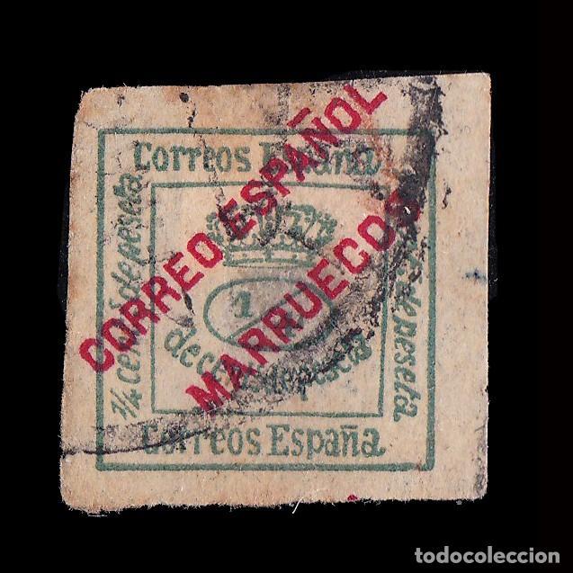 MARRUECOS.1903-09.HABILITADO.1/4 C.VERDE.USADO.EDIFIL.1 (Sellos - España - Colonias Españolas y Dependencias - África - Marruecos)