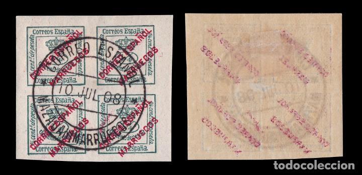 Sellos: MARRUECOS 1903-09.Habilitado.4/4 c.Matasello Mazagán.Edifil.1 - Foto 2 - 244876995