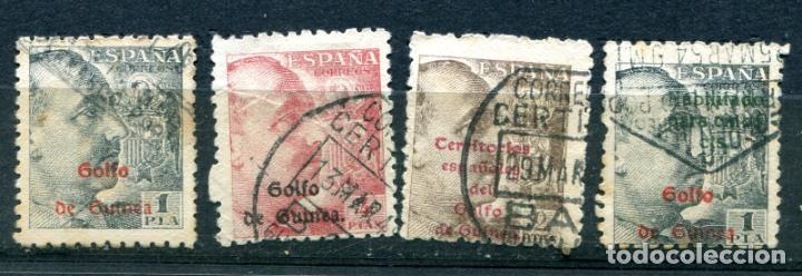 4 SELLOS DE FRANCO CON SOBRECARGA DE GUINEA ESPAÑOLA. MATASELLADOS (Sellos - España - Colonias Españolas y Dependencias - África - Guinea)
