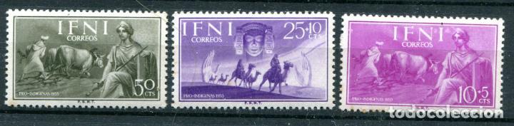 EDIFIL 122/124 DE IFNI. TEMA ANIMALES Y PERSONAJES. NUEVOS SIN FIJASELLOS, TIENEN ALGO DE ÓXIDO. (Sellos - España - Colonias Españolas y Dependencias - África - Ifni)