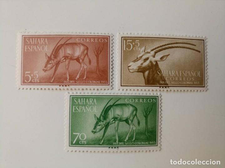 DIA DEL SELLO DEL AÑO 1955 EDIFIL 123/125 EN NUEVO ** (Sellos - España - Colonias Españolas y Dependencias - África - Sahara)