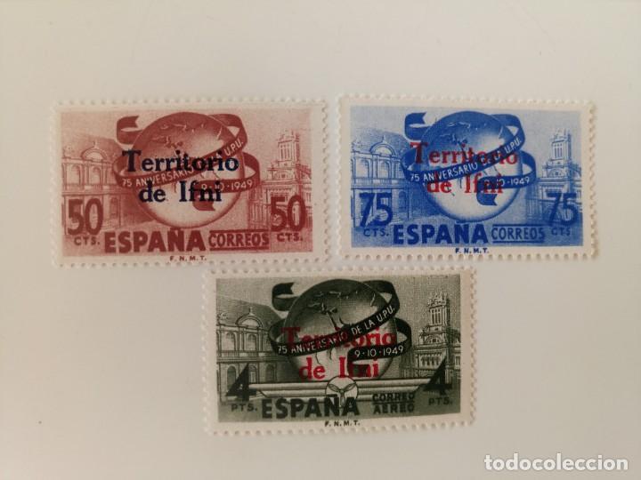 75 ANIVERSARIO DE LA U.P.U. DEL AÑO 1949 EDIFIL 65/67 EN NUEVO ** (Sellos - España - Colonias Españolas y Dependencias - África - Ifni)