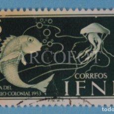 Sellos: SELLO DE CORREOS - IFNI - 15 CTS. - DÍA DEL SELLO COLONIAL 1953 - EL DE LA FOTO. Lote 246320960