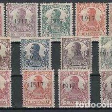 Selos: RIO DE ORO EDIFIL 91/103 AÑO 1917 SELLOS DE 1912 HABILITADOS ** SIN CHARNELA CENTRADA MUYRARA BONITA. Lote 248090260