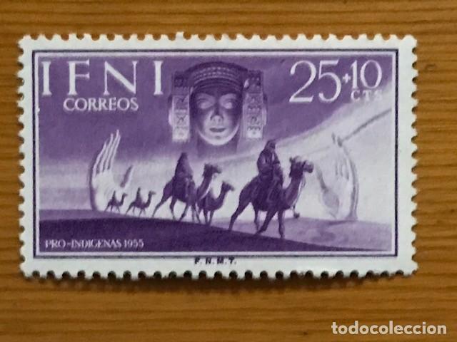 Sellos: IFNI, PRO INDIGENAS, 1955, EDIFIL 122 AL 124, NUEVOS CON FIJASELLOS - Foto 4 - 262841115