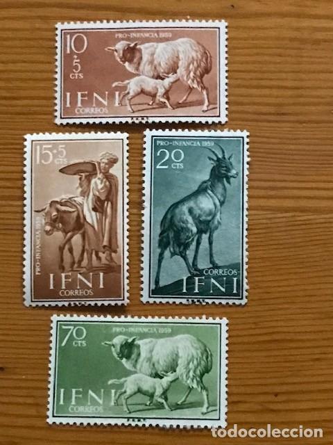 IFNI, PRO INFANCIA, 1959, EDIFIL 152 AL 155, NUEVOS CON FIJASELLOS (Sellos - España - Colonias Españolas y Dependencias - África - Ifni)