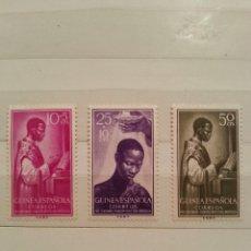 Sellos: GUINEA ESPAÑOLA. 1955- SERIE CENTENARIO CREACIÓN PREFECTURA APOSTÓLICA. NUEVOS. 5, 10 Y 50 CTS.. Lote 254172145