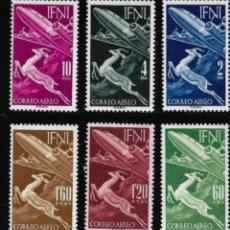 Sellos: ESPAÑA IFNI 1953 SERIE BÁSICA GACELA Y AVIÓN EDIFIL 89/94 - NUEVOS SIN CHARNELA MNH. Lote 254304680