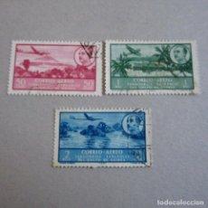 Sellos: GUINEA 1951 EDIFIL Nº 299,300 Y 301, SERIE BASICA, MATASELLADOS. Lote 255573985