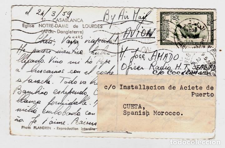 POSTAL CIRCULADA CASA BLANCA (MARRUECOS) A CEUTA (Sellos - España - Colonias Españolas y Dependencias - África - Marruecos)