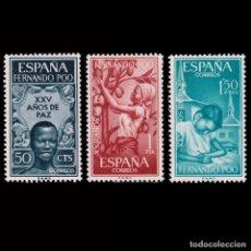 Sellos: FERNANDO POO. 1965.XXV AÑOS PAZ.SERIE MNH EDIFIL 239-241. Lote 256148895