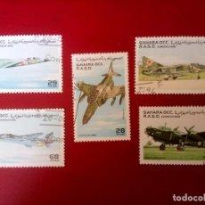 Sellos: SAHARA, 1996, AVIONES DE COMBATE. Lote 260468315