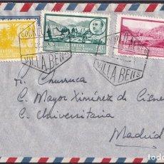 Sellos: 1951. VILLABENS A MADRID. FRANQUEO TRICOLOR ÁFRICA OCCID. ESPAÑOLA ED. 8, 13 Y 19. MUY INTERESANTE.. Lote 262616995