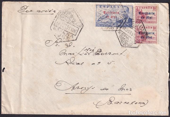 1951. IFNI A ARENYS MAR. 1,20 PTAS HABILITADOS TERRITORIO/DE IFNI Y CORREO AEREO. MUY INTERESANTE. (Sellos - España - Colonias Españolas y Dependencias - África - Ifni)