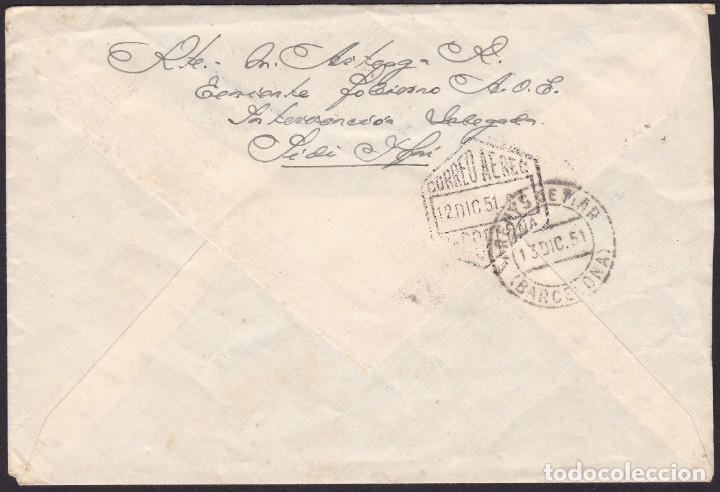 Sellos: 1951. IFNI A ARENYS MAR. 1,20 PTAS HABILITADOS TERRITORIO/DE IFNI Y CORREO AEREO. MUY INTERESANTE. - Foto 2 - 262619615