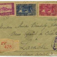 Sellos: MARRUECOS. LARACHE. FRONTAL ORAN 24 ENE 1937 LARACHE. CENSURA DE LLEGADA HELLER L6.2 (35 PUNTOS). Lote 262843545