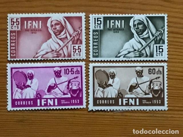 IFNI, PRO INFANCIA, 1953, EDIFIL 95 AL 98, NUEVOS CON FIJASELLOS (Sellos - España - Colonias Españolas y Dependencias - África - Ifni)