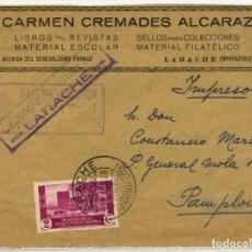 Sellos: MARRUECOS. FRONTAL LARACHE 13 ABR 1938 A PAMPLONA. CENSURA L6.4 (20P) Y MARCA PATRIÓTICA.. Lote 262854660