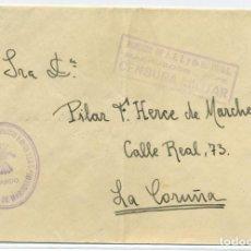 Sellos: MARRUECOS. SOBRE DEL FRENTE A LA CORUÑA CON MATASELLOS DE RODILLO DE LLEGADA 29 MAY 1938. Lote 262857385