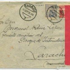 Sellos: MARRUECOS. SOBRE BADAJOZ 11 SEPT 1936 LARACHE CON CENSURA MILITAR L.6.6 SOBRE PAPEL ROSA CARMÍN.. Lote 262858500