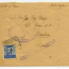 Sellos: MARRUECOS. CERTIFICADA ZELUAN BARCELONA 10 AGO 1939. FRANQUICIA VIOLETA. RODILLO TRANSITO POR NADOR. Lote 262862860