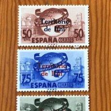Sellos: IFNI, DIA DEL SELLO, ANIVERSARIO DE LA U.P.U, 1949, EDIFIL 65 AL 67, NUEVOS CON FIJASELLOS. Lote 267003134