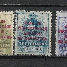 Sellos: ESPAÑA MARRUECOS TELEGRAFOS 1917 EDIFIL 9/11 * MH - 2/39. Lote 268800604