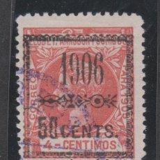 Sellos: 1906 ELOBEY ALFONSO XIII SOBRECARGADO 50CTS SOBRE 4 CTS. USADO. RARO. Lote 268916659