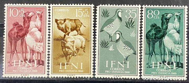 IFNI, 1960. EDIFIL 159/62. TEMA ANIMALES. SERIE COMPLETA. NUEVO. SIN FIJASELLOS. (Sellos - España - Colonias Españolas y Dependencias - África - Ifni)