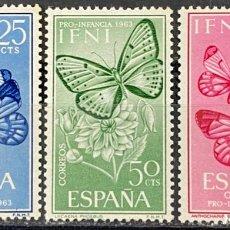 Sellos: IFNI, 1963. EDIFIL 195/97. FAUNA - INSECTOS. SERIE COMPLETA. NUEVO. CON CHARNELA. Lote 269188198