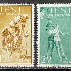 Sellos: IFNI, 1958. EDIFIL 145/48. PRO INFANCIA. SERIE COMPLETA. NUEVO. SIN FIJASELLOS. Lote 269188246