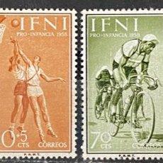 Sellos: IFNI, 1958. EDIFIL 145/48. PRO INFANCIA. DEPORTE. SERIE COMPLETA. NUEVO. SIN FIJASELLOS.. Lote 269188573