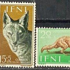 Sellos: IFNI, 1957. EDIFIL 138/41. FAUNA. SERIE COMPLETA. NUEVO. SIN FIJASELLOS. Lote 269189998